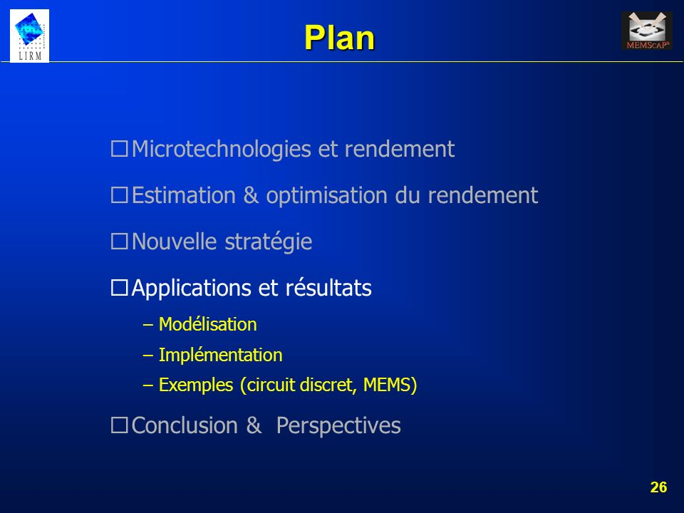 Plan Microtechnologies et rendement