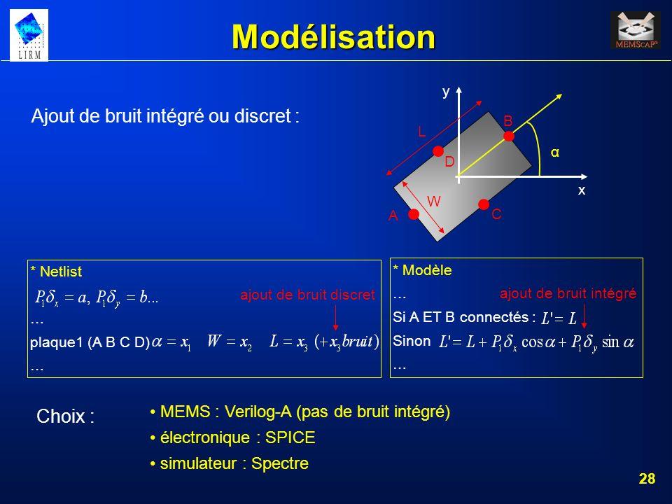 Modélisation Ajout de bruit intégré ou discret : Choix :