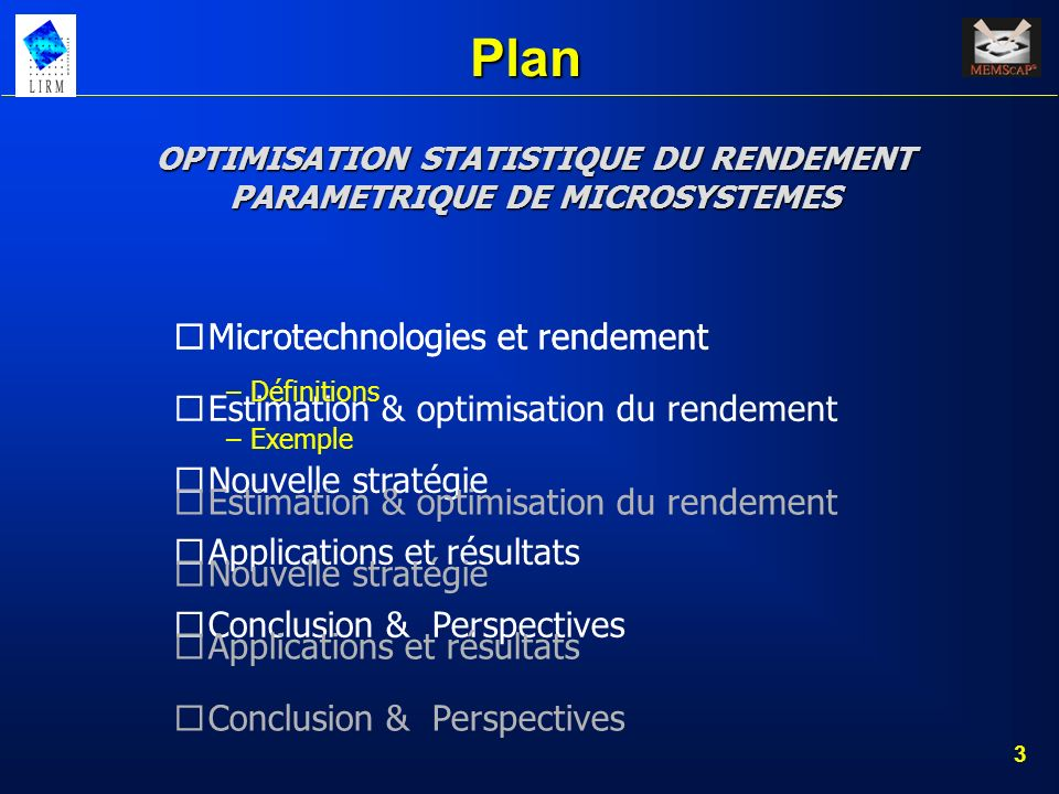 OPTIMISATION STATISTIQUE DU RENDEMENT PARAMETRIQUE DE MICROSYSTEMES