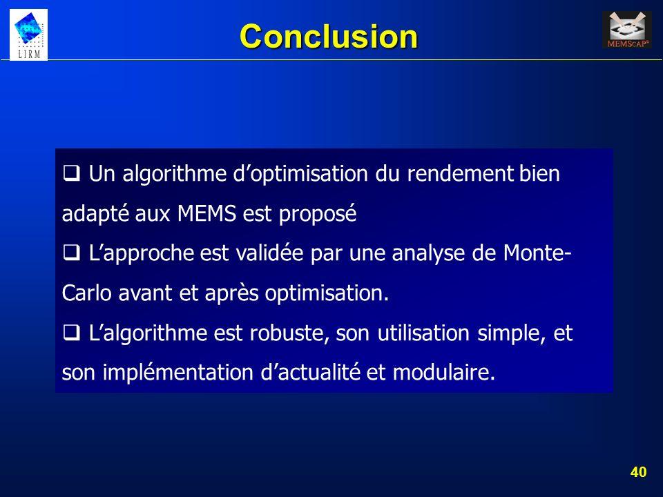 Conclusion Un algorithme d'optimisation du rendement bien adapté aux MEMS est proposé.