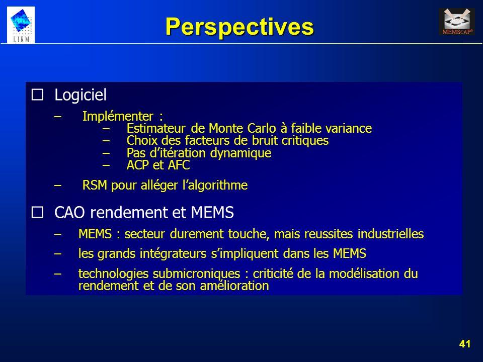 Perspectives Logiciel CAO rendement et MEMS Implémenter :