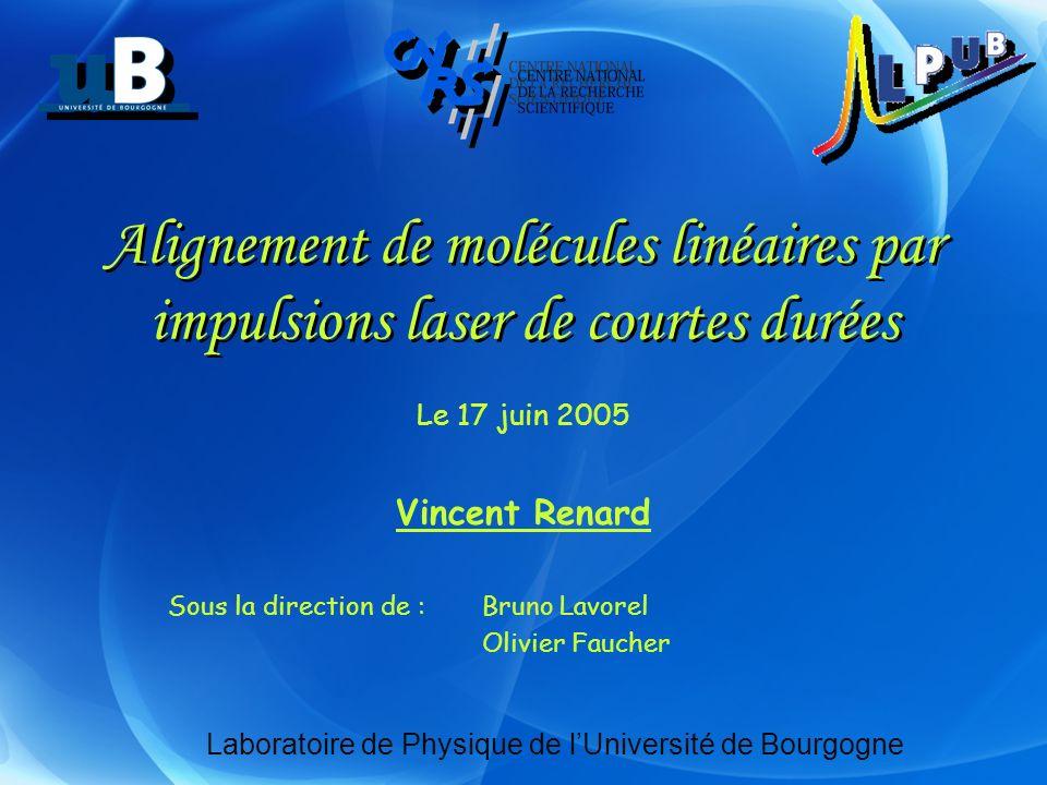 Alignement de molécules linéaires par impulsions laser de courtes durées