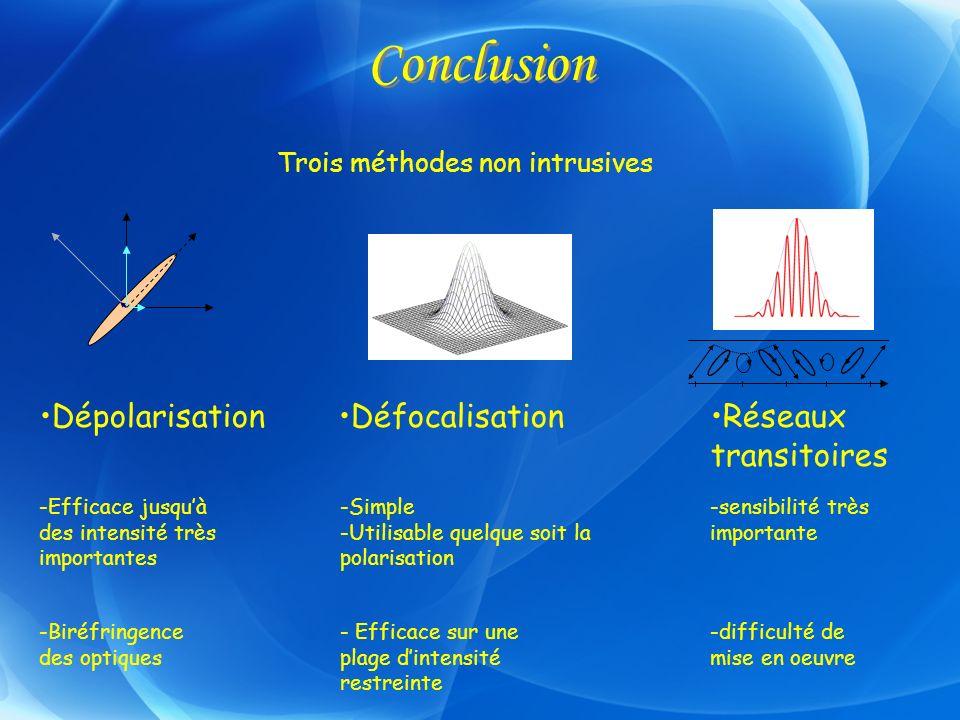 Conclusion Dépolarisation Réseaux transitoires Défocalisation