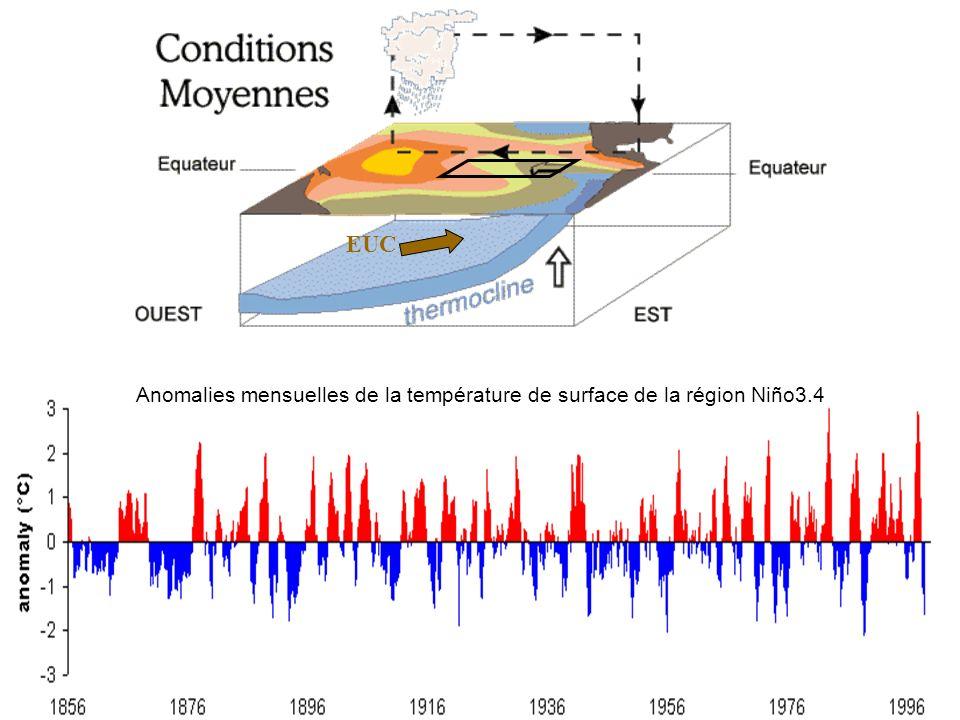 EUC Anomalies mensuelles de la température de surface de la région Niño3.4. EUC. Precipitation *30.