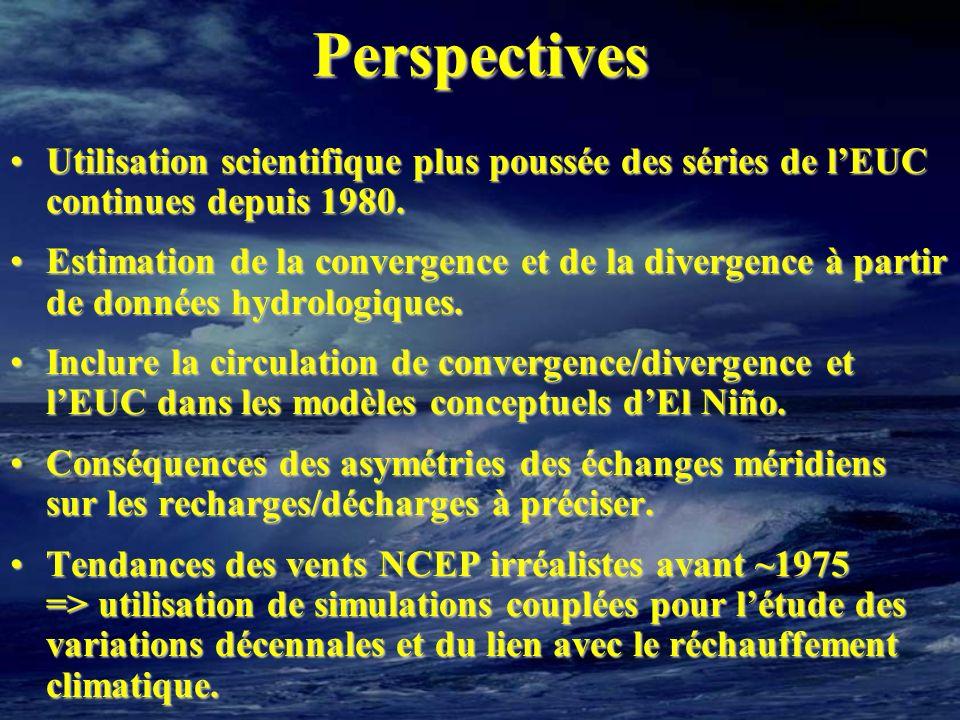 Perspectives Utilisation scientifique plus poussée des séries de l'EUC continues depuis 1980.