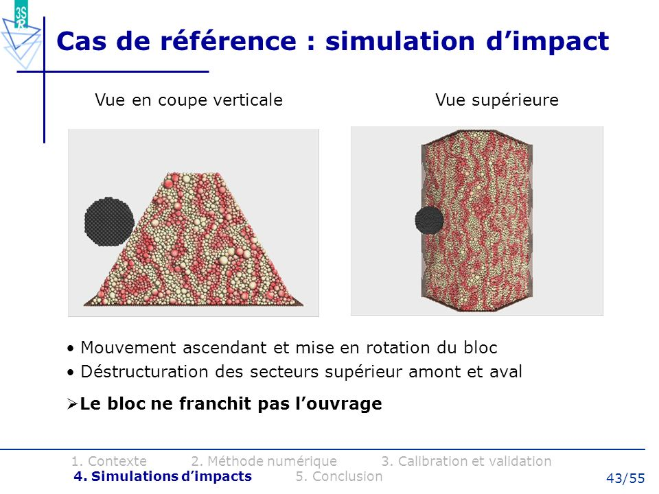 Cas de référence : simulation d'impact