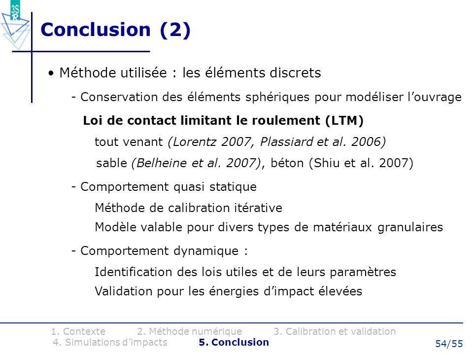 Conclusion (2) Méthode utilisée : les éléments discrets