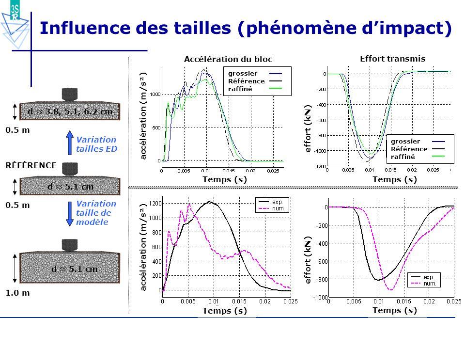 Influence des tailles (phénomène d'impact)