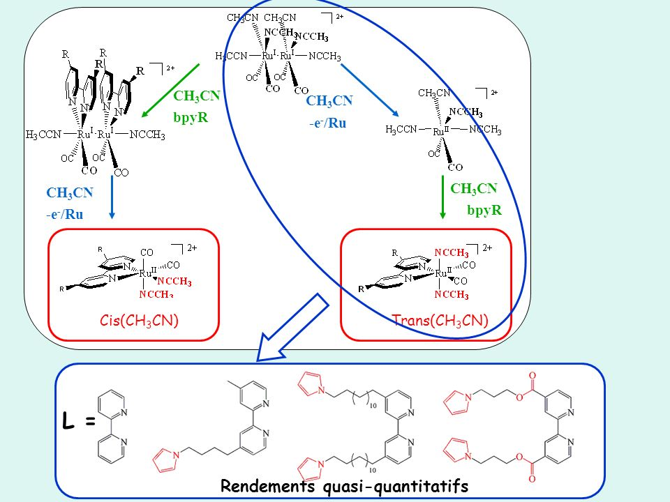 L = Rendements quasi-quantitatifs CH3CN CH3CN bpyR -e-/Ru CH3CN CH3CN