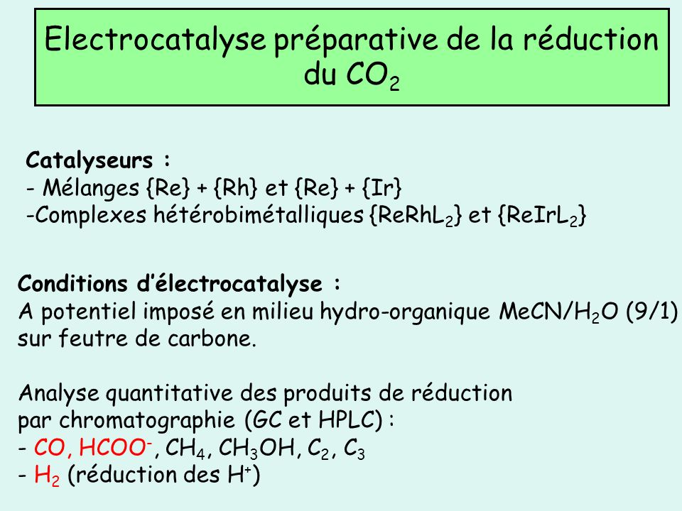 Electrocatalyse préparative de la réduction du CO2