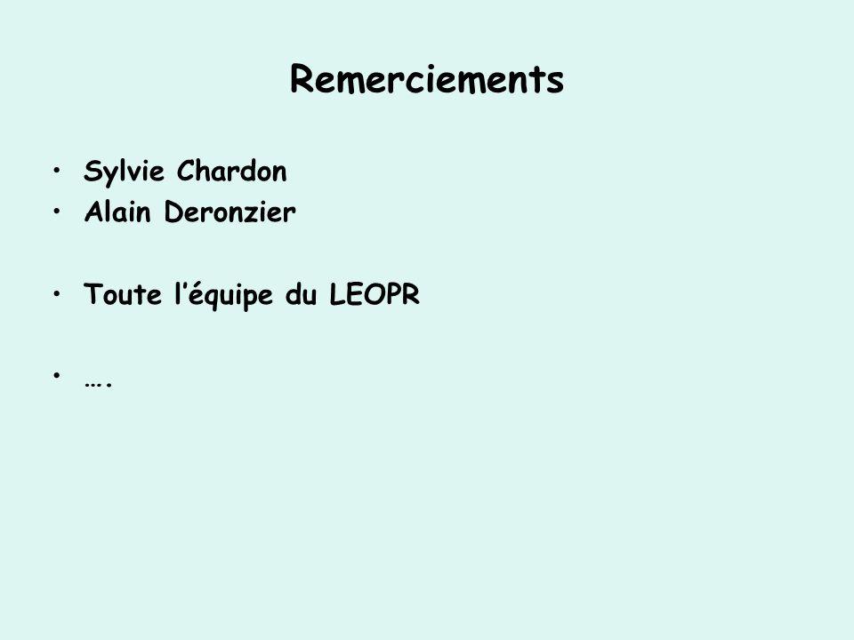 Remerciements Sylvie Chardon Alain Deronzier Toute l'équipe du LEOPR