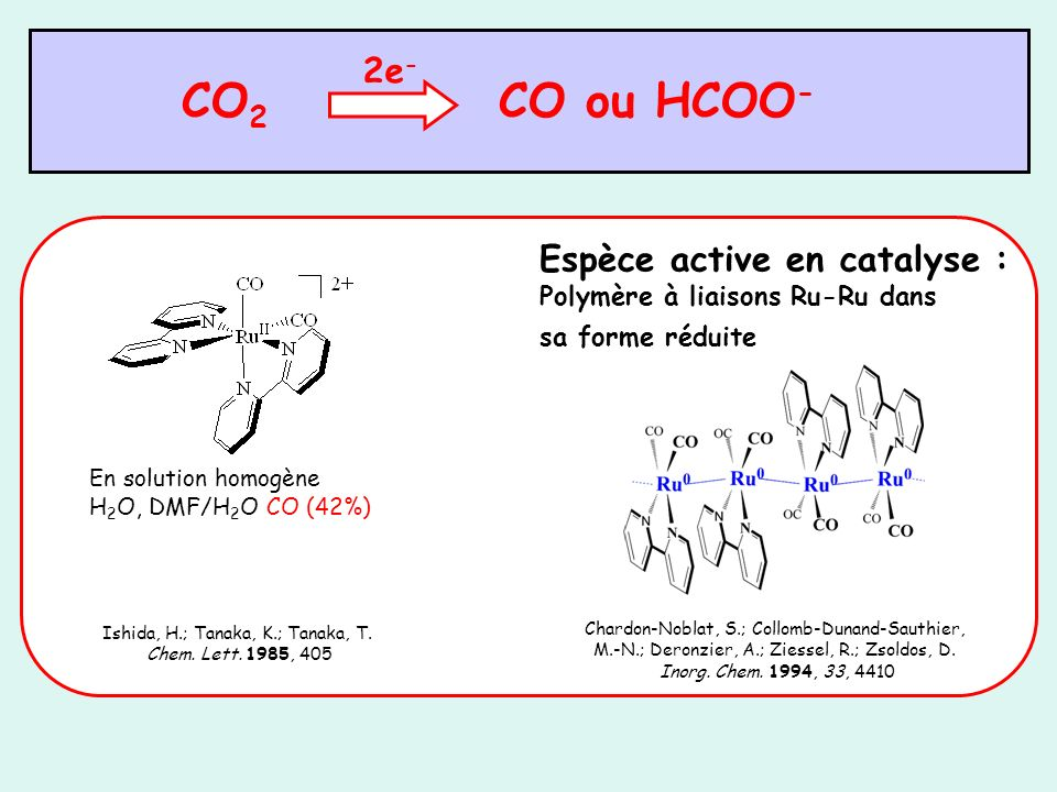 CO2 CO ou HCOO- 2e- Espèce active en catalyse :