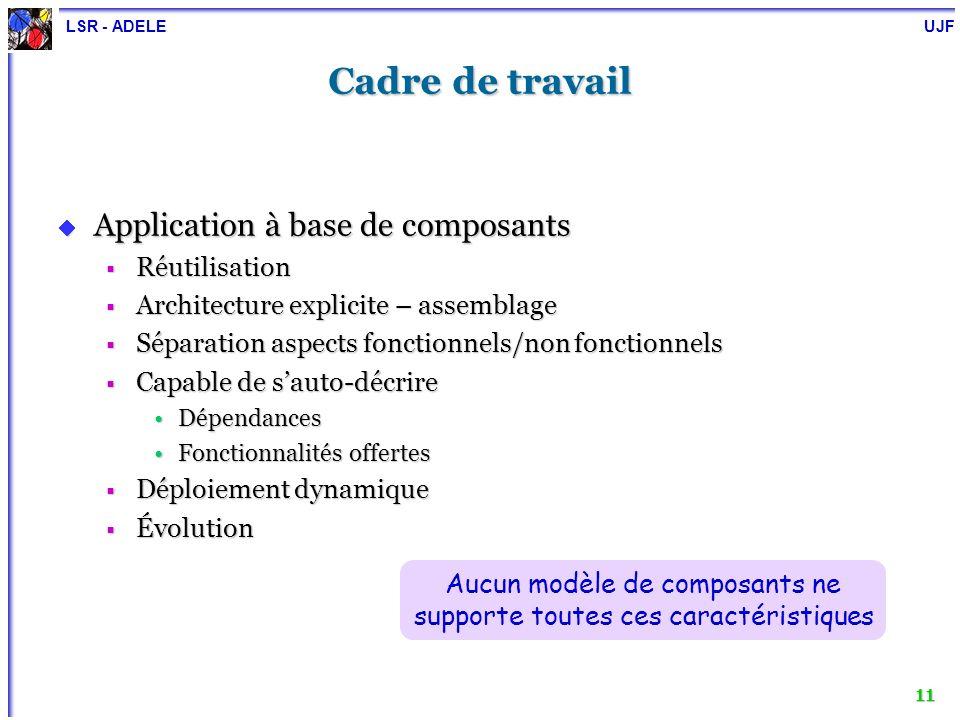 Aucun modèle de composants ne supporte toutes ces caractéristiques