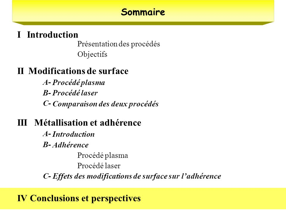 Modifications de surface II
