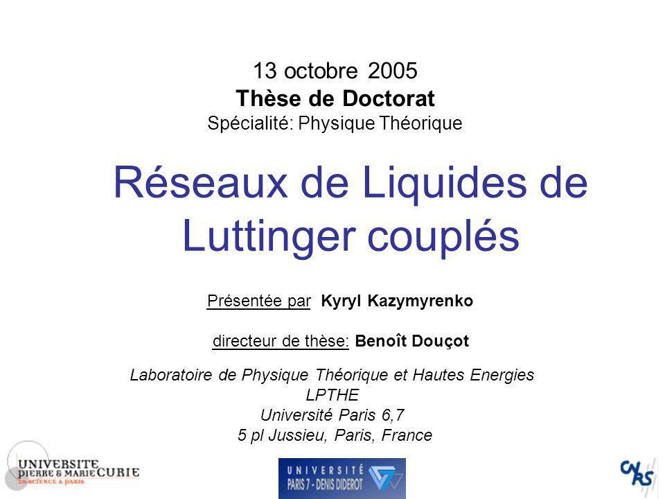 13 octobre 2005 Thèse de Doctorat Spécialité: Physique Théorique
