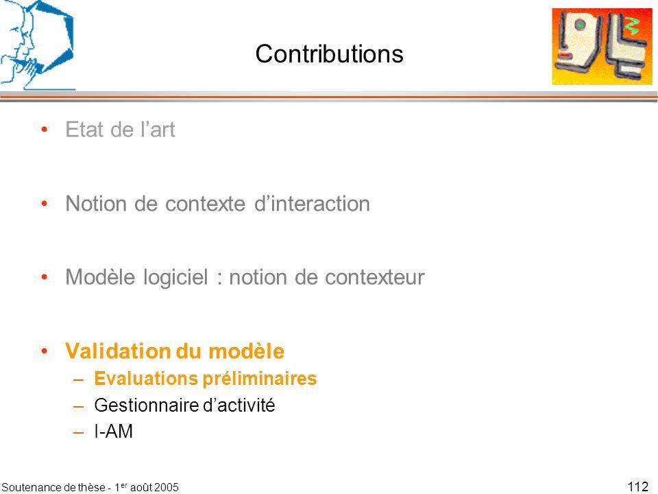 Contributions Etat de l'art Notion de contexte d'interaction
