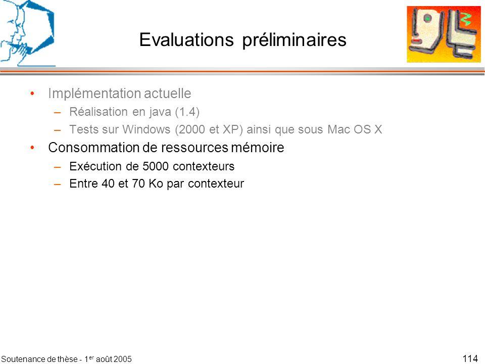 Evaluations préliminaires