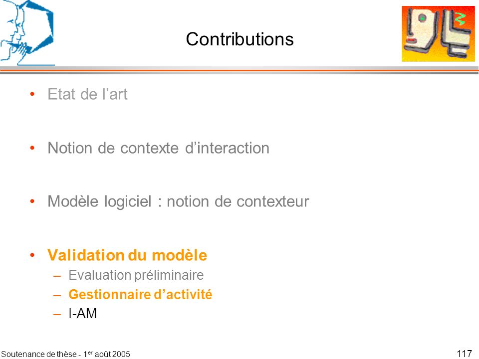 Contributions Etat de l'art Notion de contexte d'interaction