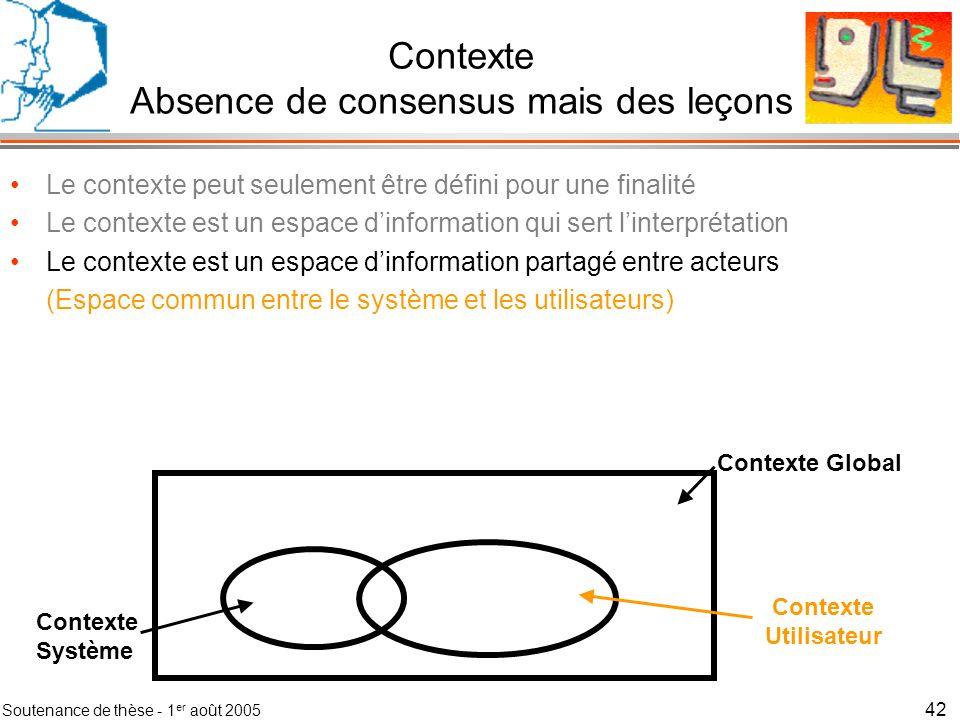Contexte Absence de consensus mais des leçons