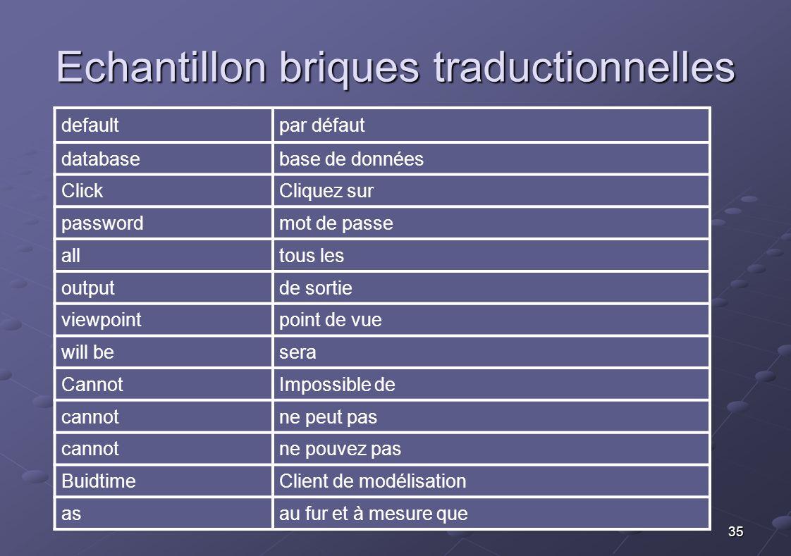 Echantillon briques traductionnelles