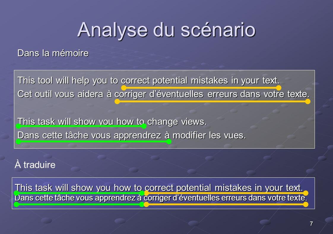Analyse du scénario Dans la mémoire