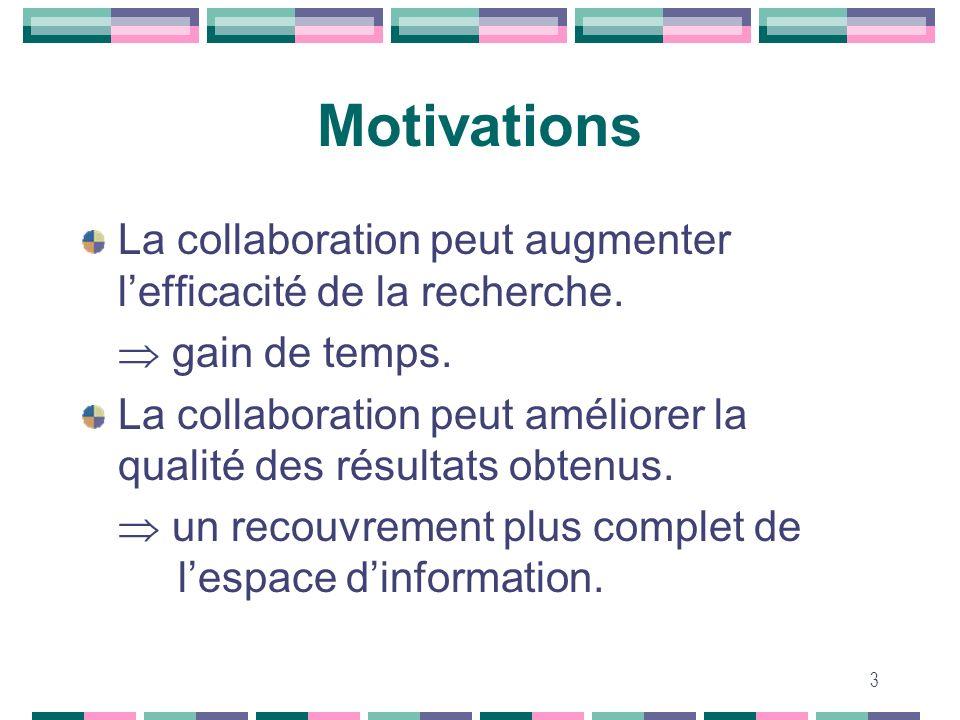MotivationsLa collaboration peut augmenter l'efficacité de la recherche.  gain de temps.