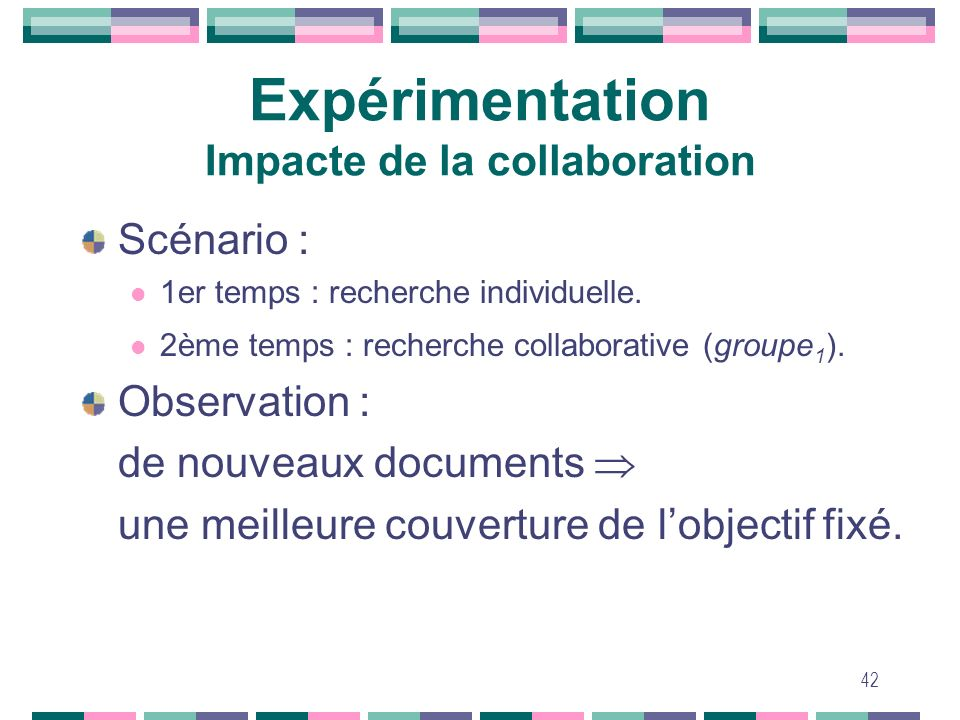 Expérimentation Impacte de la collaboration