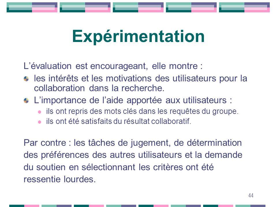 Expérimentation L'évaluation est encourageant, elle montre :