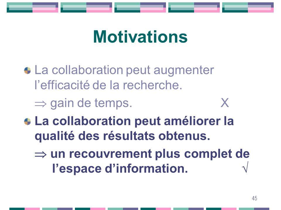 MotivationsLa collaboration peut augmenter l'efficacité de la recherche.  gain de temps. X.