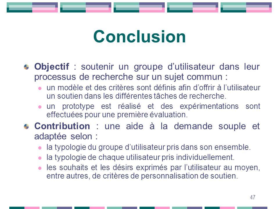 Conclusion Objectif : soutenir un groupe d'utilisateur dans leur processus de recherche sur un sujet commun :