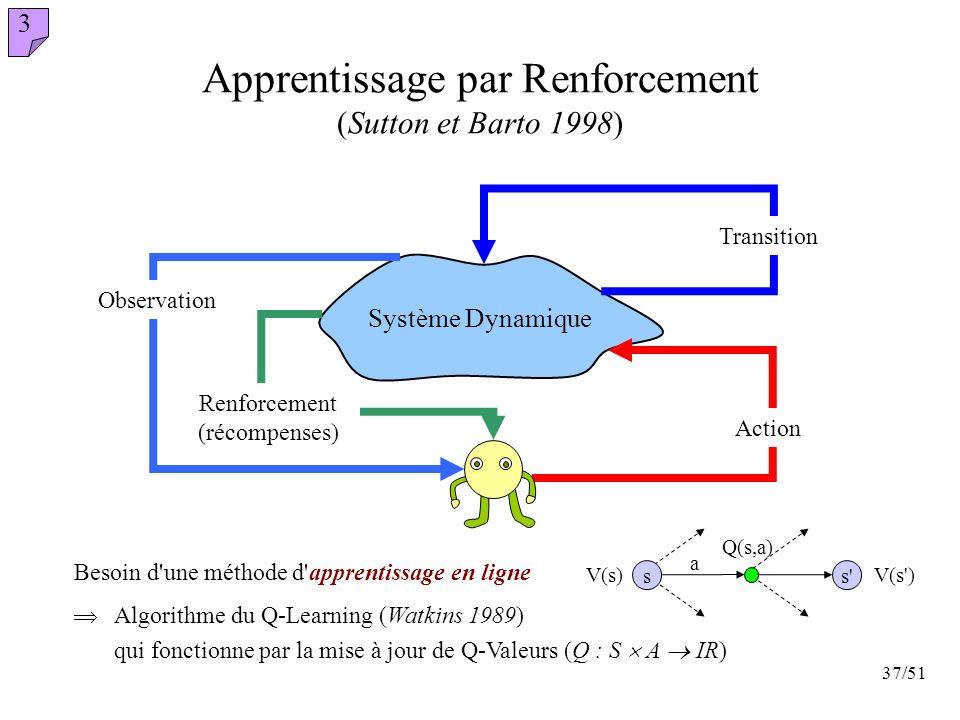 Apprentissage par Renforcement (Sutton et Barto 1998)