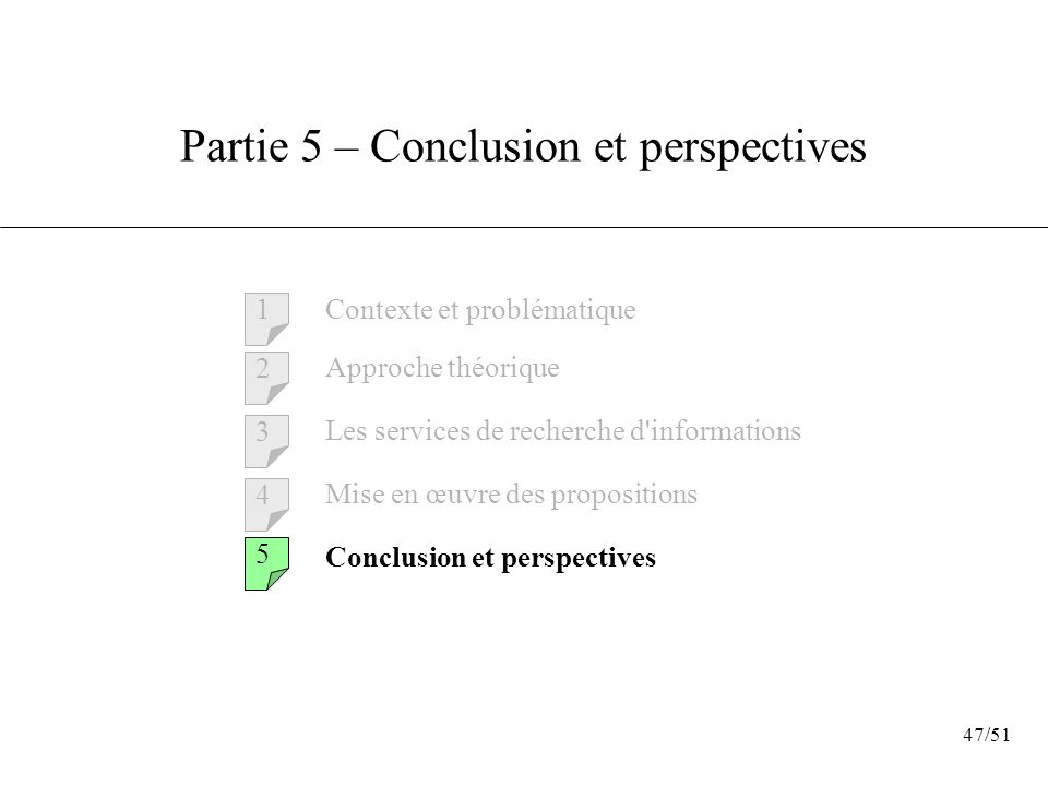 Partie 5 – Conclusion et perspectives