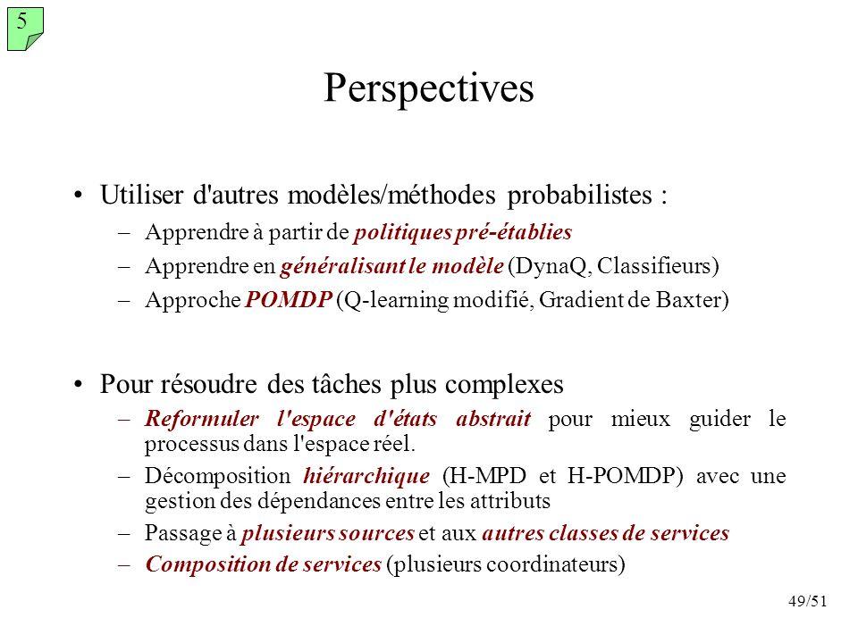 Perspectives Utiliser d autres modèles/méthodes probabilistes :