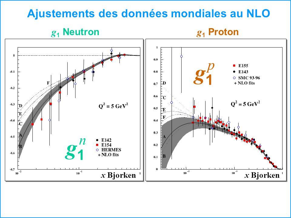 g1 p n Ajustements des données mondiales au NLO g1 Neutron g1 Proton