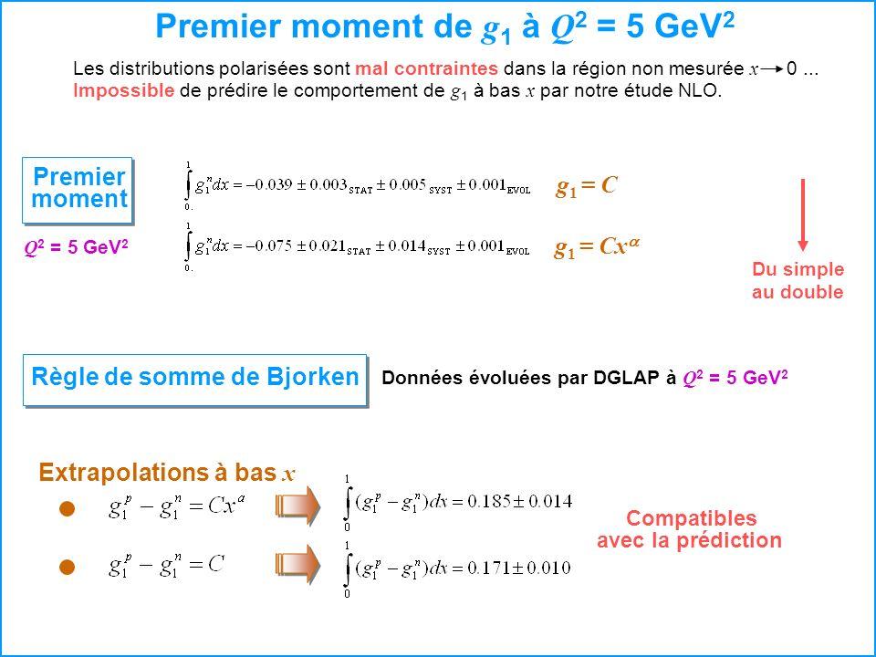 Premier moment de g1 à Q2 = 5 GeV2