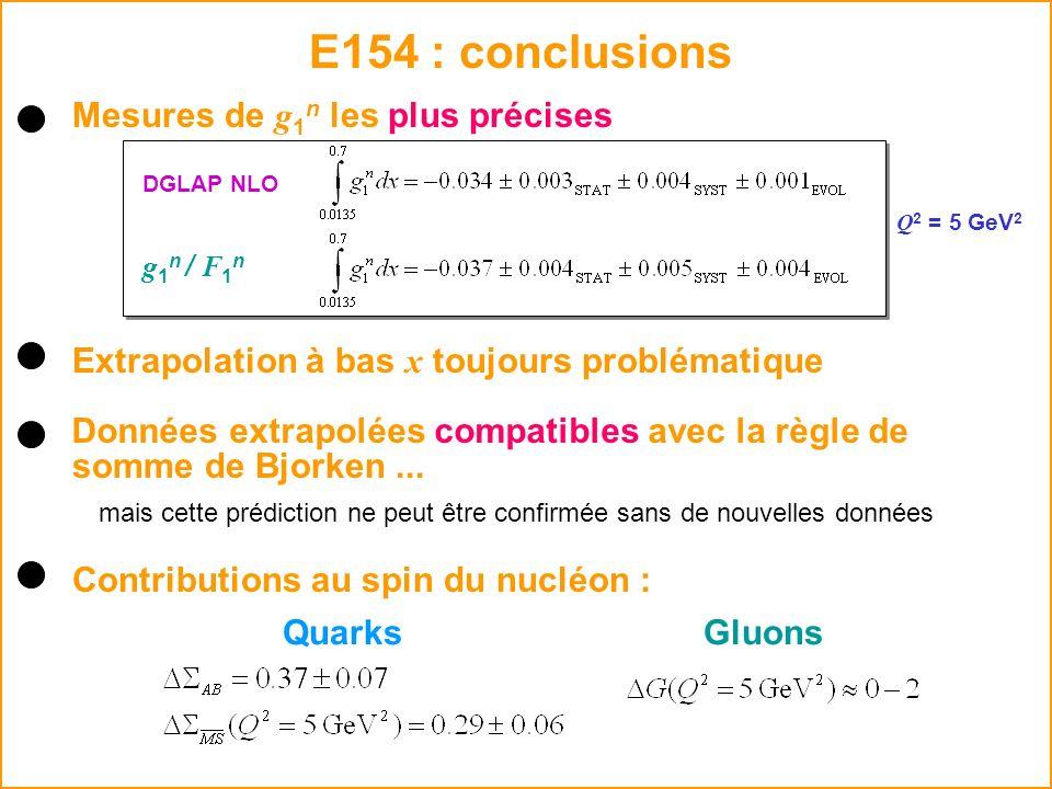 E154 : conclusions Données extrapolées compatibles avec la règle de