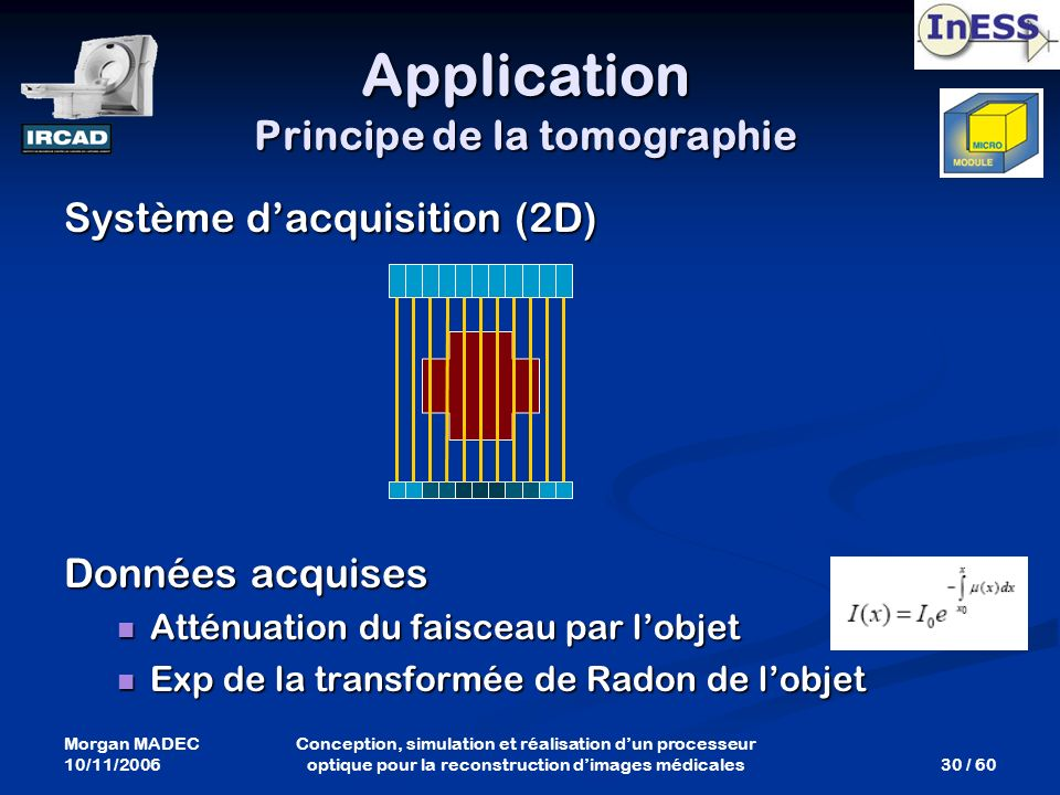 Application Principe de la tomographie