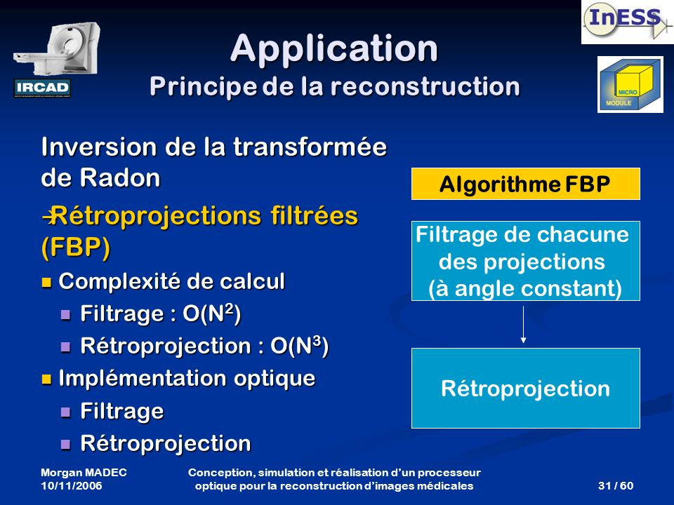 Application Principe de la reconstruction