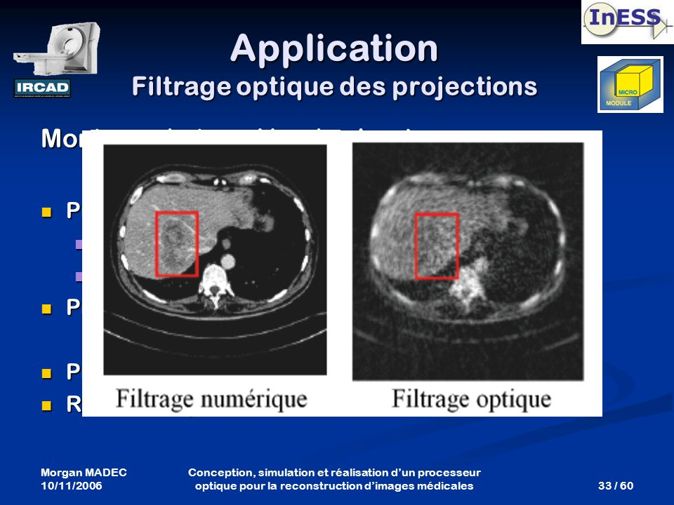 Application Filtrage optique des projections