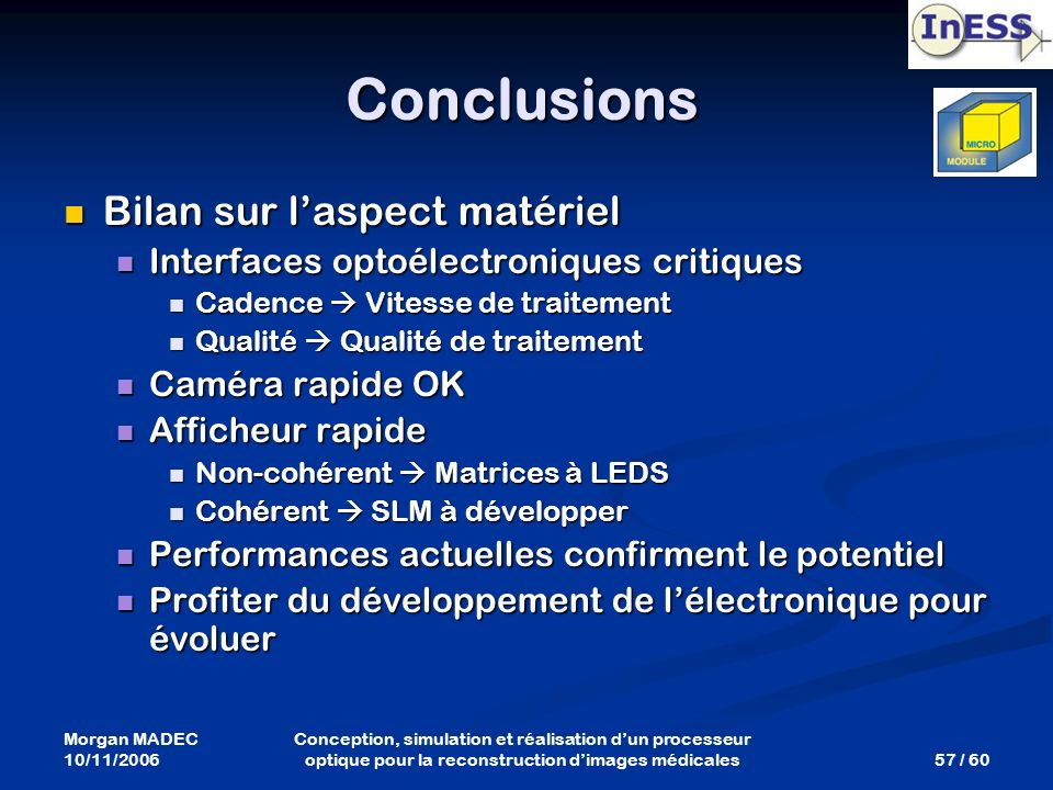 Conclusions Bilan sur l'aspect matériel