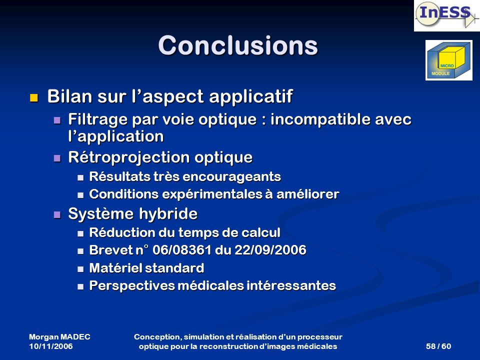 Conclusions Bilan sur l'aspect applicatif
