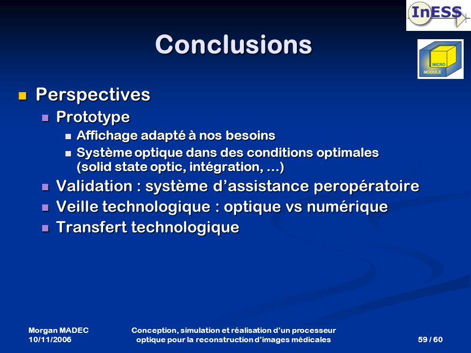 Conclusions Perspectives Prototype