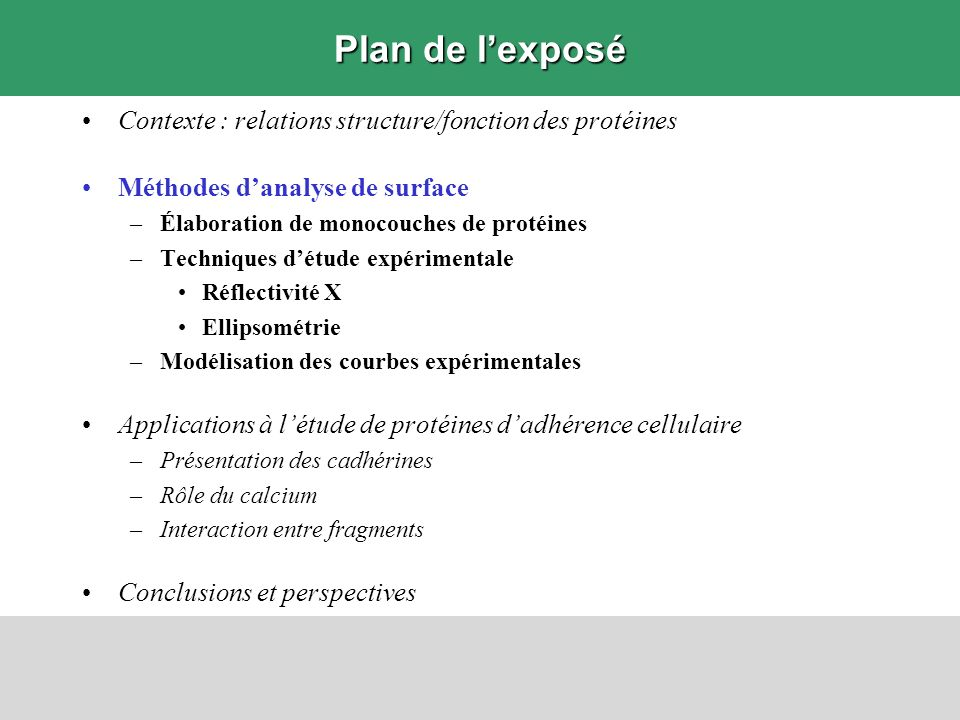 Plan de l'exposé Contexte : relations structure/fonction des protéines