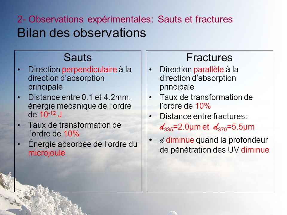 2- Observations expérimentales: Sauts et fractures Bilan des observations