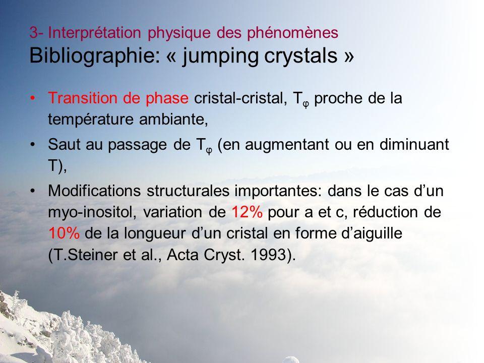 3- Interprétation physique des phénomènes Bibliographie: « jumping crystals »