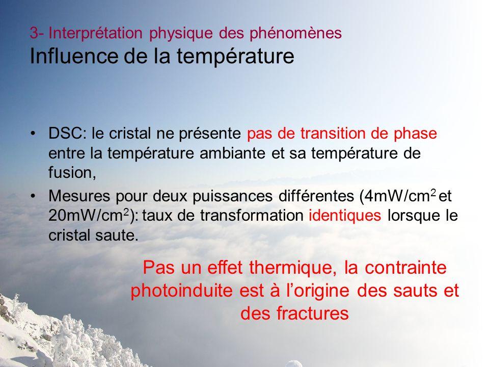3- Interprétation physique des phénomènes Influence de la température