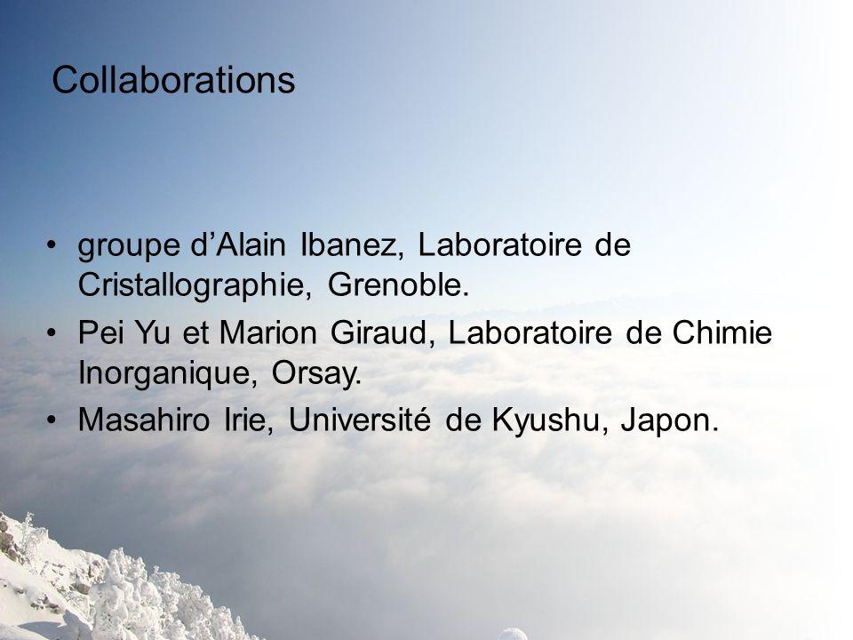 Collaborations groupe d'Alain Ibanez, Laboratoire de Cristallographie, Grenoble. Pei Yu et Marion Giraud, Laboratoire de Chimie Inorganique, Orsay.