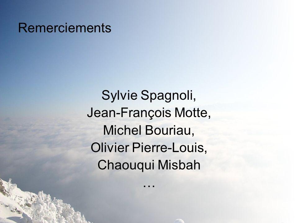 Remerciements Sylvie Spagnoli, Jean-François Motte, Michel Bouriau, Olivier Pierre-Louis, Chaouqui Misbah.
