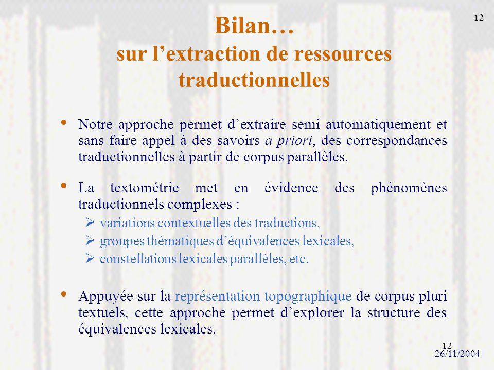 Bilan… sur l'extraction de ressources traductionnelles