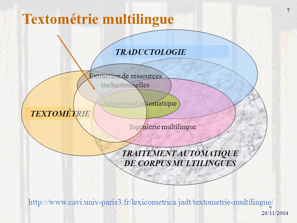 TRAITEMENT AUTOMATIQUE DE CORPUS MULTILINGUES